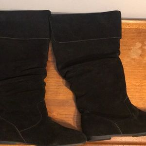 Shoes - Black suede slouch boots.  Extra wide calf.